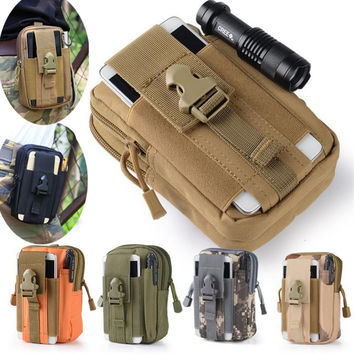 Universal Outdoor Tactical Holster Military Molle Hip Waist Belt Bag Wallet Pouch Purse Phone Case with Zipper for iPhone 7 HTC