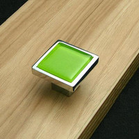 Lime Green Glass Knobs Square / Dresser Drawer Knobs Pulls Handles / Modern Cabinet Knobs Pull Handle Furniture Cupboard Knob Hardware