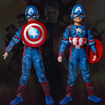 Children Boys Girls Halloween Costumes Anime Cosplay Carnival Muscle Captain America Jumpsuit Mask Shield