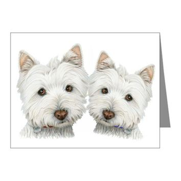 TWO CUTE WEST HIGHLAND WHITE DOGS NOTE CARDS (PK O