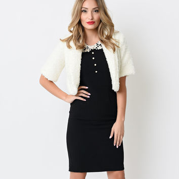 Retro Style White Downy Shrug Jacket