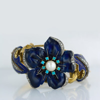 Mid 19th Century Enameled Bracelet with Diamonds, Pearl and Turquoise - 40-1-501 - Lang Antiques