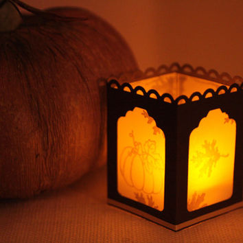 Paper Tealight Holder for Fall - Handmade Candle Holder - Party Luminary