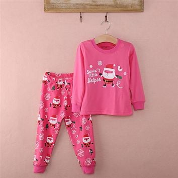 Fashion Unisex  Santa Claus Baby Kids Cartoon Winter Autumn Nightwear Sleepwear Outfits Set Clothes