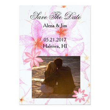 Modern Pink Plumeria Flowers Save The Date 5x7 Paper Invitation Card