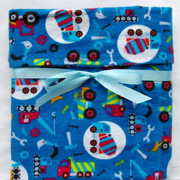 Flannel baby blanket receiving truck blue bedding swaddling blanket  boy construction dump truck organic cotton quilt crib blanket unisex