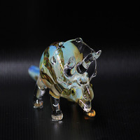 Handmade Tobacco Glass Smoking Pipe - Animal Collection - Triceratops