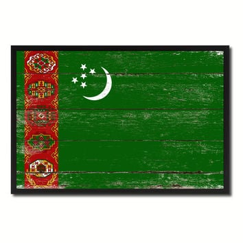 Turkmenistan Country National Flag Vintage Canvas Print with Picture Frame Home Decor Wall Art Collection Gift Ideas