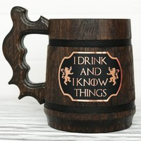 I Drink And I Know Things Mug. Game Of Thrones Mug. Tyrion Lannister Inspired Beer Stein. Personalized GoT Gift. Custom House Lannister Gift. Beer Tankard. Wooden Beer Mug #118 / 0.6L / 22 ounces