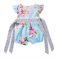 Summer Newborn Infant Baby Girl Floral Bow-knot Romper Jumpsuit Outfits Sun-suit Clothes