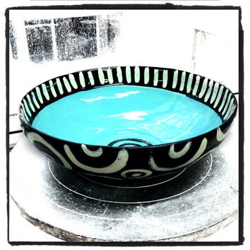 Medium ceramic bowl light blue inside black and white pattern perfect for entertaining and serving made in NYC