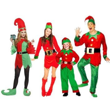 Kids Adults  Clown Elf Costume Family Lovers Cosplay Costumes  Masquerade Party Dress Decoration  Halloween Christmas