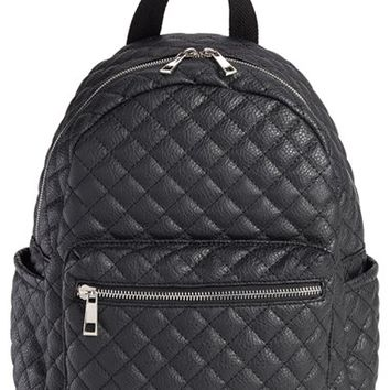 Junior Women's Amici Accessories Faux Leather Quilted Backpack - Black