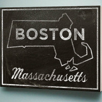 Boston Chalkboard Print Wood Art
