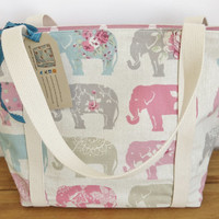 Handmade Zipper Tote, Fabric Tote, Women's Fabric Shoulder Bag, Clarke & Clarke Elephant Fabric, Gift For Her, Shopper, Present for Mum