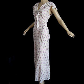 Vintage 30s Violet Print Dress NightGown Lady Duff Flutter Sleeve 38 Bust