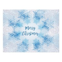 SHOW FLAKES PATTERN Merry Christmas Postcard