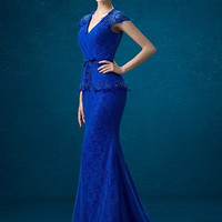 Corded Lace Wrap Evening Gown