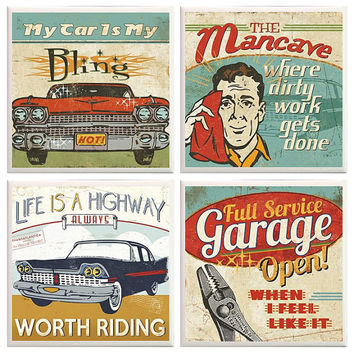 Man Cave Coasters, manly coasters, Dad Coasters, Life is a highway, husband gift, fathers gift, funny coasters, Garage decor, vintage car