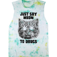 Just Say Meow Sleeveless Tee Black on Tie Dye