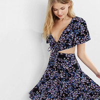 Floral Flutter Sleeve Extreme Cut-out Dress from EXPRESS