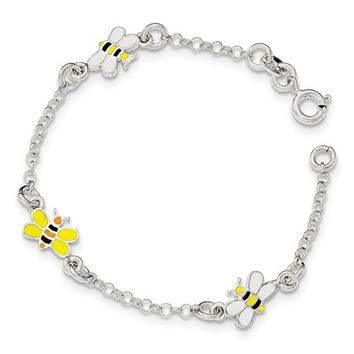 Sterling Silver Children's Enameled Bee Bracelet