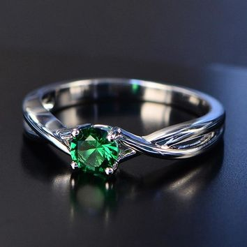 Sapphire Silver Ring Women's  Round Gemstone Engagement Ring Fine Jewelry Ring