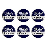 Kenny Hello My Name Is Plastic Resin Button Set of 6