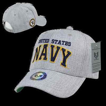 US Military Navy Heather Grey Baseball Cap Ball Hat- Armed Forces