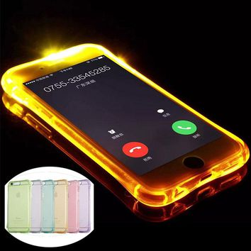 Cool Remind Incoming Call Clear Cover Cases For iPhone 6 7 6S 8 Plus 5 5S SE X Transparent Case Bling Glitter Led Flash Light Up