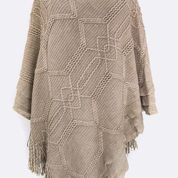 Womens Mocha Pullover V-Neck Sweater Poncho Cape with Fringe