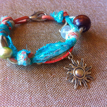 Mixed Media Bracelet - Boho Chic Accessories - Bohemian Jewelry - Sun Charm - Orange & Teal - Lace - Leather - Hemp - Beaded- #203
