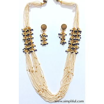 Unique Multi stranded seed bead Necklace and Earring set
