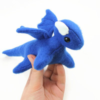 Royal Blue Dragon Stuffed Animal, Plushie, Plush Toy, Softie, Toy Animal, Small Stuffed Dragon