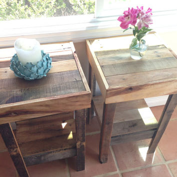 beautiful recycled wood reclaimed nightstand end accent entry table