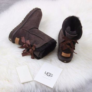 CREYNW6 Sale Ugg 1016225 Ribbon Bow Brown Classic Bailey Bow II Boot Snow Boots
