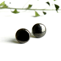 Tiny Stud Earrings Bronz Black Ceramic Cabochon Round Post Unisex Jewelry Surgical Steel
