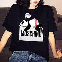 MOSCHINO Newest Women Casual Panda Print Short Sleeve T-Shirt Top Black