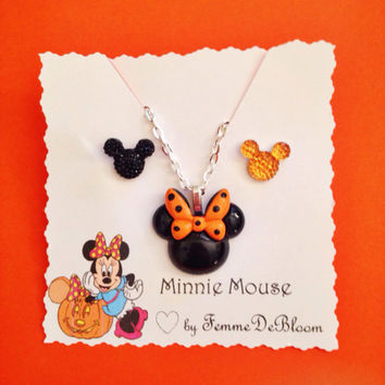 Handmade Minnie Mouse Inspired Halloween Necklace and Mickey Inspired Earring Set - Halloween Time Disney Inspired