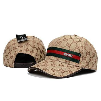 Women Men Travel Hat Gucci Stripe Logo Adjustable Sport Cap