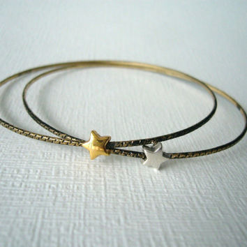 Star delicate bracelet  bangle, layering, stacking