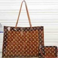 Perfect Louis Vuitton Women Leather Shoulder Bag Satchel Tote Handbag Crossbody Two Piece Set