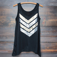 soft chevron sequin women's tank - black
