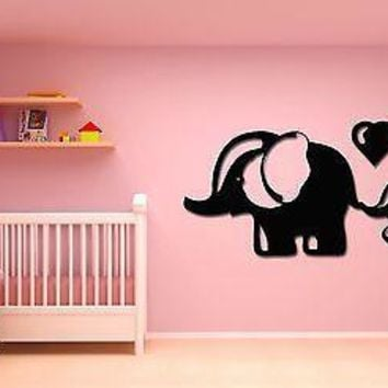 Vinyl Decal Wall Stickers Elephant Mother And Baby Heart Love Unique Gift (z1612)