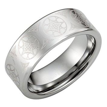 Tungsten Men's Ring With Celtic Knot Engraving