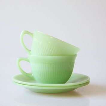 Fire King Jadeite cups and saucers, vintage mint green coffee cups, green decor, retro kitchenware, pastel green tea cups, soft green cups