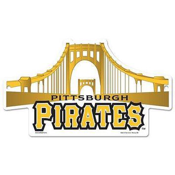"PITTSBURGH PIRATES ROBERTO CLEMENTE BRIDGE ICONIC WOOD SIGN 11""x17"" NEW WINCRAFT"