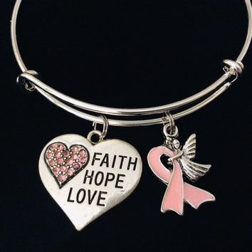 Faith Hope Love Guardian Angel Pink Ribbon Jewelry Adjustable Charm Bracelet Expandable Silver Bangle Trendy One Size Fits All Gift Pink Crystal Heart Breast Cancer Awareness Ribbon