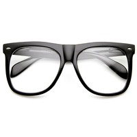 Oversize Hipster Indie Nerd Fashion Clear Lens Horned Rim Glasses 8900