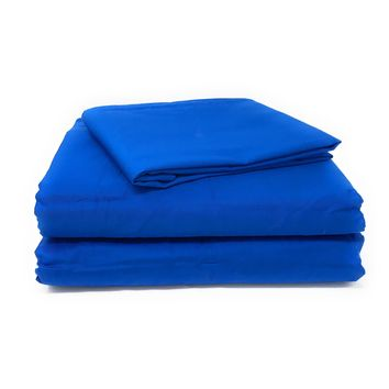Tache Cotton Deep Blue Bed Sheet set (Fitted Sheet)